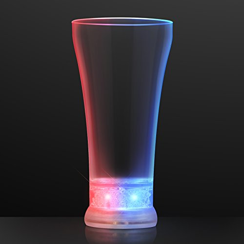 (Patriotic Light Up Pilsner Beer Glasses with Red, White & Blue LED Lights (Set of)