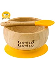 Baby Suction Bowls and Matching Spoon Set, Suction Stay Put Feeding Bowl, Natural Bamboo (Yellow)