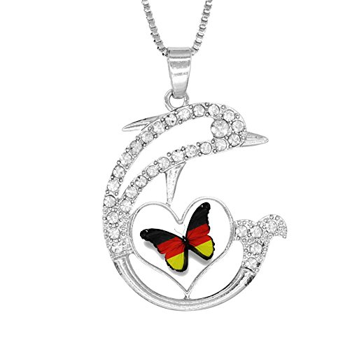H-Beufun Jumping Dolphin Love Heart Pendant Necklace German Flag 3D Printed Jewelry