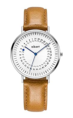 abart FD36-101 Women's Watch Crack Oily Calf Leather Strap with Date Display Wrist Watch for Women from a.b.art
