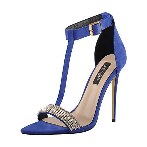 Onlymaker Women's T Strap Pointed Toe High Heels Sandals Stiletto Blue -