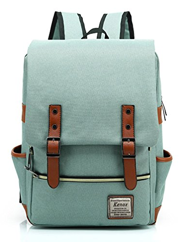 Kenox Vintage Laptop Backpack College Backpack School Bag Fits 15-inch Laptop (Green1)