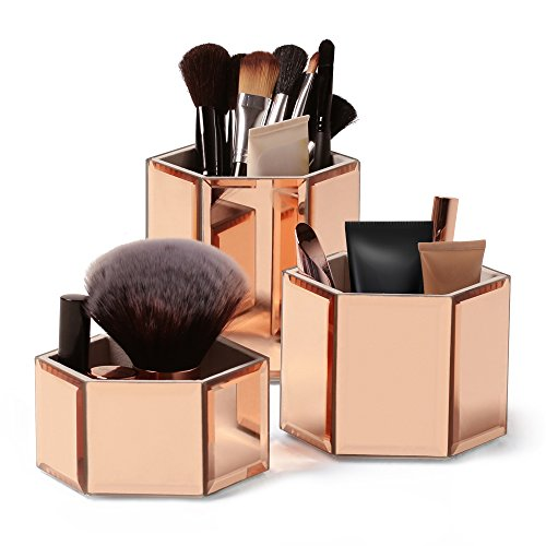 410OwUOU9DL - Beautify Rose Gold Hexagon Storage Pots for Makeup Cosmetics, Brushes, Jewelry and Accessories Set of 3 with Glass Cleaning Cloth