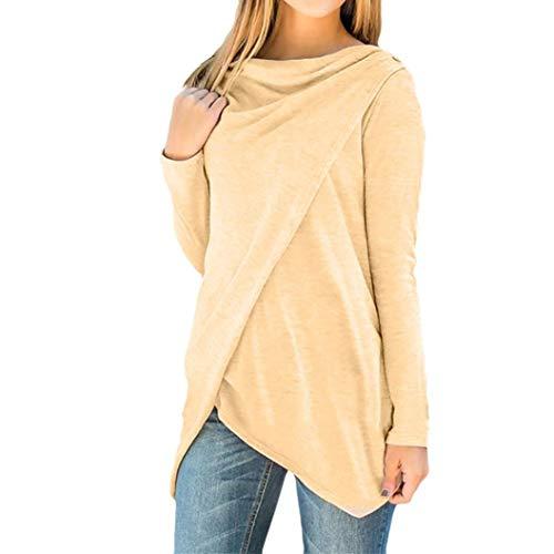 Alimao 2019 Autumn New Women Pure Color Irregular Shirt Buttons Sweatshirt Long Sleeve Tank Tops Blouse Coffee