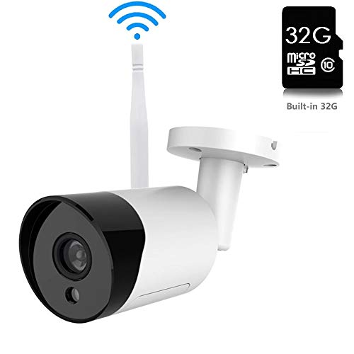 Wireless Security Camera 1080P 2MP HD WiFi Bullet Cameras with IR LED Night Vision Motion Detection Two-Way Audio Motion Detection Alarm/Audio Recording, Including 32GB SD Card for Home Indoor Outdoor