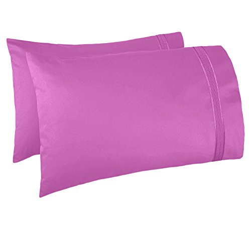 (Nestl Bedding Soft Pillow Case Set of 2 - Double Brushed Microfiber Hypoallergenic Pillow Covers - 1800 Series Premium Bed Pillow Cases, King - Radiant Orchid)