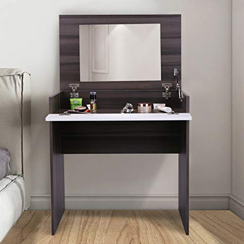 Ebony&White Vanity Flip-up Design Dressing table with Mirror and Jewelry Storage Chic Dresser Makeup