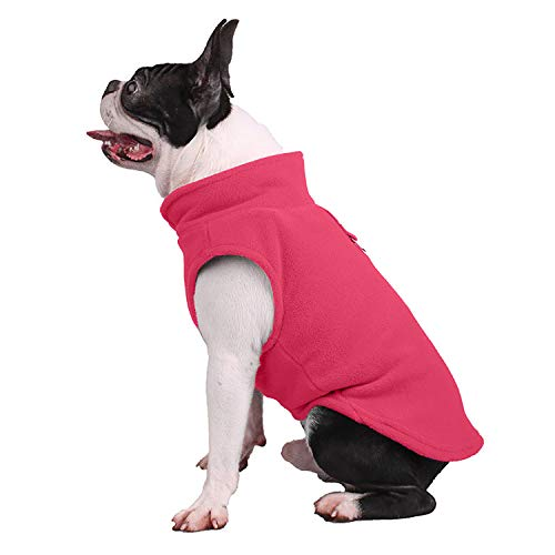 - Petea Dog Cat Fleece Vest Autumn Winter Cold Weather Dog Vest Harness Clothes with Pocket Pet Puppy Pullover Fleece Jacket with Leash Ring for Dogs and Cats (L, Pink)