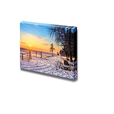 Beautiful Landscape Gates and Fences in Winter Landscape with Snowy Fields and Blue Sky in Drenthe Netherlands - Canvas Art Wall Art - 12
