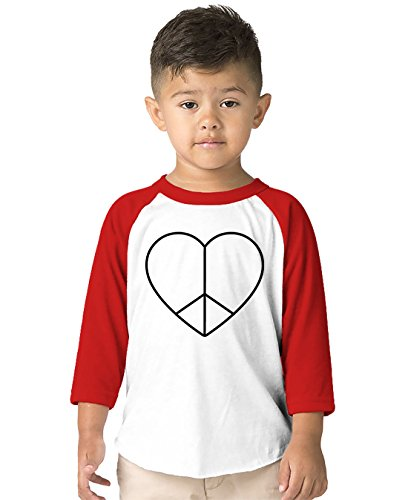 SpiritForged Apparel Peace and Love Heart Toddler 3/4 Raglan Shirt, Red 4T