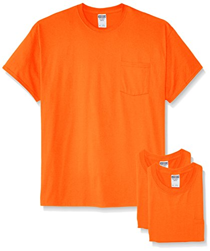 Jerzees Men's White Adult Short-Sleeve Pocket T-Shirts (3-Pack), Safety Orange, X-Large
