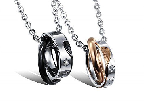 Fekkai Bicyclic Merge Love Diamond Titanium Steel Pendant Necklace Couple
