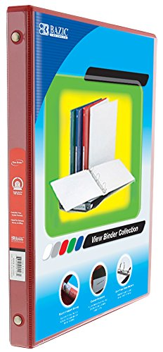 BAZIC 1/2'' Red 3-Ring View Binder w/ 2-Pockets, for School, Home, or Office (Case of 12)