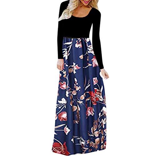 Witspace Fashion Women's Autumn & Winter Casual Long Sleeve O-Neck Print Long Dress Blue