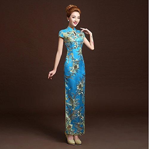 Qi Dress Guyivvu Sposa Cinese Pao Abito Lunga Pizzo 4 Moda Slim In Abiti Wedding Cheongsam Donne Qipao Retrò nbsp;colori Rosso Brown Stile Tradizionale Tqxqf5