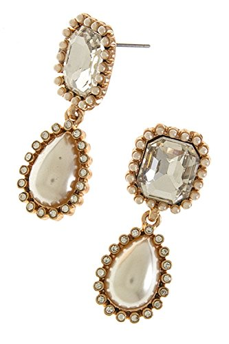 THE JEWEL RACK PEARL FRAMED CRYSTAL DROP EARRINGS (Clear/Copper) (Necklace Crislu Drop)