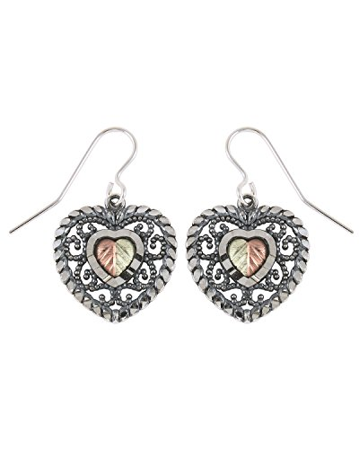Oxidized Filigree Heart Earrings, Sterling Silver, 12k Green and Rose Gold Black Hills Gold Motif by The Men's Jewelry Store (for HER)