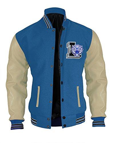 Men 13 Why College School Liberty High Tigers Letterman Varsity Blue Jacket