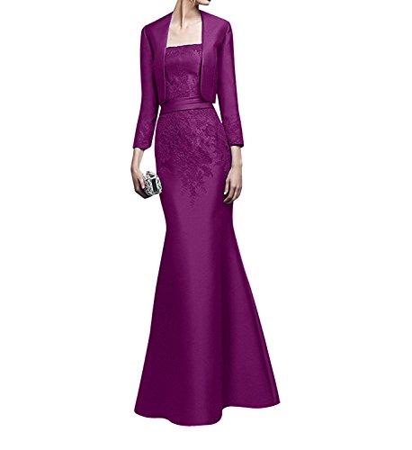 Spitze Damen Abendkleider Brautmutterkleider Charmant Trumpet Glamour Jaket mit Dunkel Fuchsia Satin Etuikleider Lang Festlichkleider CTvqtvw
