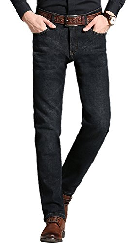 FEESON Men's Winter Thick Flannel Fleece-Lined Mid-Waist Business Denim Jeans Black W31 by FEESON