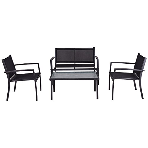 Tangkula Patio Furniture Set 4 Piece Outdoor Patio Steel Frame Table and Sofa Sets Conversation Set by Tangkula (Image #3)