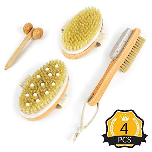 Soft Stone (Dry Body Brushing Set - Natural Bristle Shower Brush, Exfoliating Body Brush, Dual Foot Scrub w/Soft Bristles & PumiceStone, Facial Massage Roller - Dry Brushing for a Glowing Skin & Healthy Body)