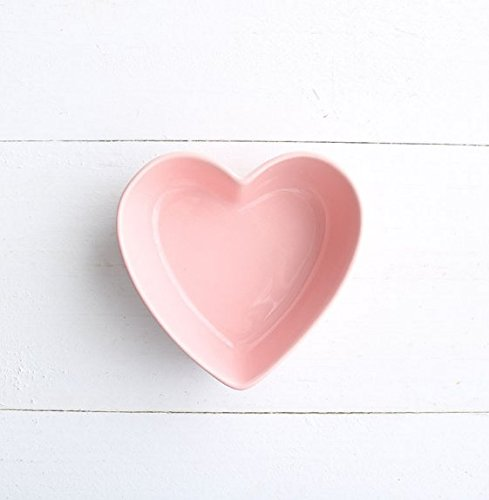 Stock Show 1PC Lovely Heart Shape Ceramic Bowl Tableware, Macarons Color Procelain Kitchen/Restaurant/Cafe Shop Food Holder Container for Ice Cream/Fruit/Snack/Dessert(Pink) ()