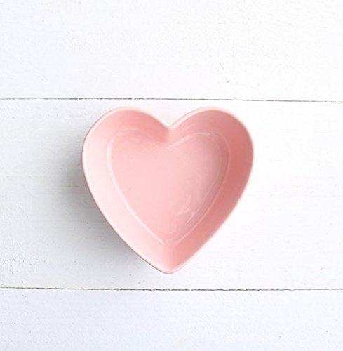Stock Show 1PC Lovely Heart Shape Ceramic Bowl Tableware, Macarons Color Procelain Kitchen/Restaurant/Cafe Shop Food Holder Container for Ice Cream/Fruit/Snack/Dessert(Pink)