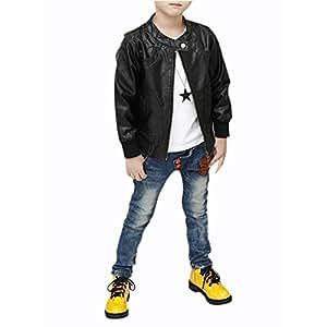 SODIAL(R) New Boys Coats Faux Leather Jackets Children Fashion Outerwear Spring & Autumn -Black, 130cm