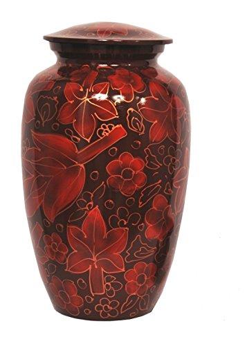 Floral Urn - Floral Crimson Cremation Urn for Human Ashes - Adult Funeral Urn Handcrafted - Affordable Urn for Ashes - Large Urn Deal