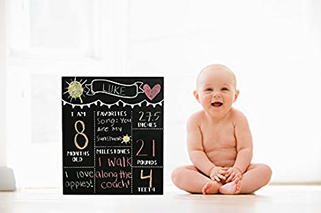 JennyGems Chalkboard Sign Baby Milestone Months For Use With Actual Dry Chalk Monthly Baby Photo Props - (Use Actual Dry Chalk. Do Not Use Chalk ...