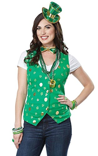 Tie Soft Hackle (Lucky Lady Kit St. Patricks Day Vest Bow Tie Hat Curly Hair Clips Adult S/M L/XL)