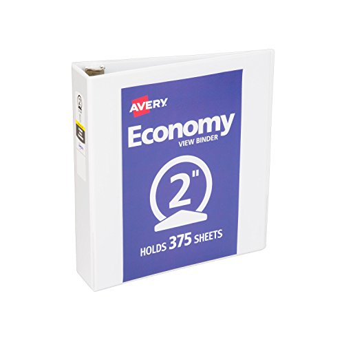 Avery Economy View Binder with 2 Inch Round Ring, White, 1 Binder (5731) (Round 2 Ring)
