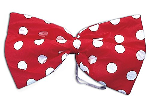 Star Power Large Clown Polka Dot Oversized Bow Tie, Red White, One-Size -