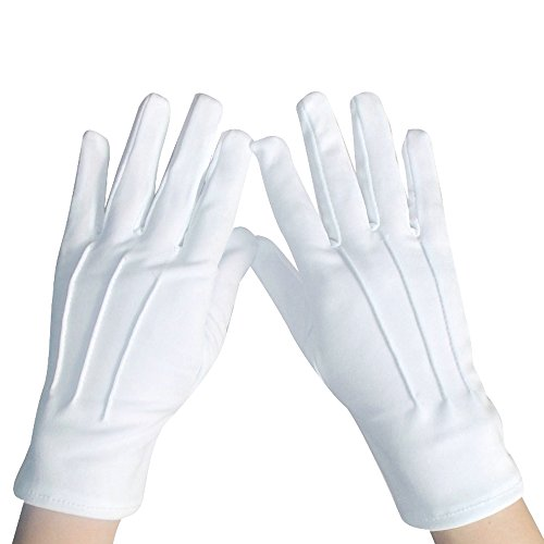 White Cotton Parade Gloves - Police Formal Tuxedo Honor Guard Santa Claus Parade Inspection Jewelry Gloves (2 Pairs) -