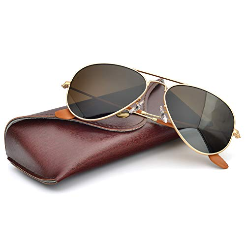 Bnus corning natural glass lenses Titanium frame aviator sunglasses for men women italy made (Matte Gold/Brown Polarized, Titanium Frame)