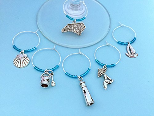 North Carolina Beach Themed Wine Charms, Gift for NC Beach Lover, beach themed, beach Vacation, Outer Banks Getaway, Set of 6. AQUA BEADS.