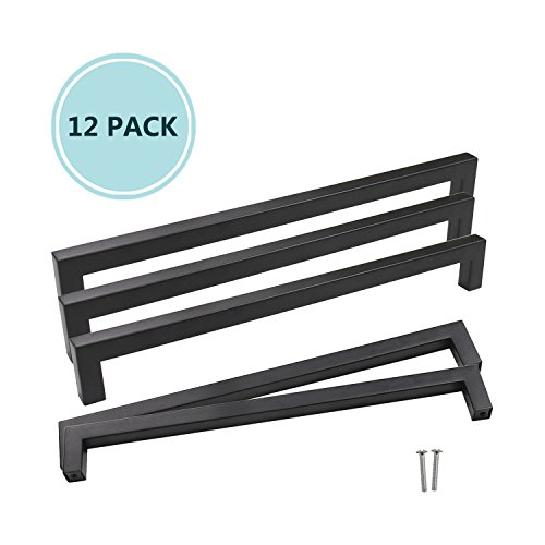 12 Pack Black Stainless Steel Square Corner Bar Kitchen Cabinet Door Handles Furniture Cupboard Pulls Hole Centers 10″, Overall Length 10.5″, Width 0.5″