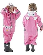 TURMIN Regnrockar pojkar flickor regndräkt med huva regnpöl kostym vattentät en del overall regnkläder bärbar barn regnjacka poncho med transparent hattbrätte för 1-8 år