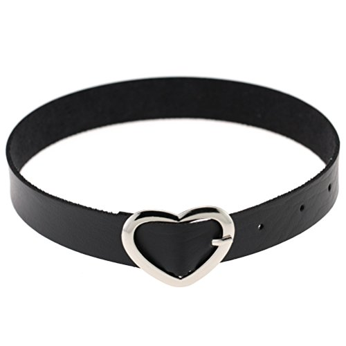 FM FM42 Black Heart Buckle PU Simulated Leather Belt Collar Choker Necklace PN1207