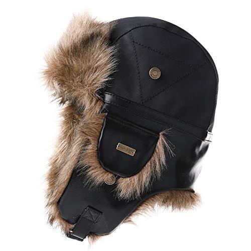 Mens Womens Waterproof Faux Fur Hunting Mad Bomber Trapper Flaps Winter Cap Ushanka Russian Hat Balck