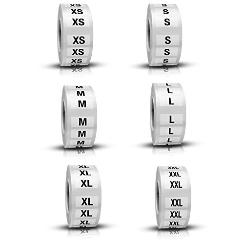 Discount Sizing Clothing Size Labels Stickers  - 6 Rolls,