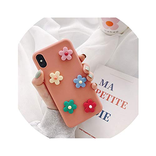 3D Flower Phone Cases for iPhone 8 7 6 6S Plus Xs Max Xr X Korea Style Soft Silicone Back Cover,Rosado,for iPhone Xs Max (Pizza Cases 4 For 3d Iphone)