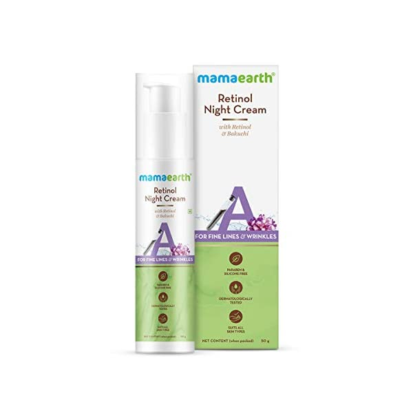 Mamaearth Retinol Night Cream For Women with Retinol & Bakuchi for Anti Aging, Fine Lines and Wrinkles – 50 g 2021 July FOR FINE LINES & WRINKLES: Say good morning to younger-looking skin and goodbye to signs of aging. Bakuchi and Retinol work together to fight fine lines and wrinkles leaving you with more youthful skin with every use. REDUCES HYPERPIGMENTATION: Say hello to ageless skin! Retinol present in the Night Cream ensures that collagen production is boosted and the aged cell's behavior is altered to make skin look younger. EVENS SKIN TONE: Give your skin that flawless glow with the goodness of Bakuchi. It's a powerhouse of antioxidants that reduces blemishes and gives you even-toned skin.