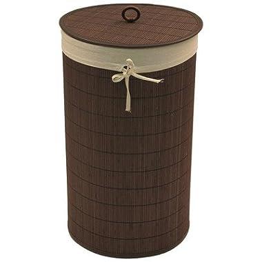 Redmon Round Bamboo Hamper with Ecru Liner