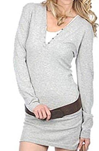 Damen V 100 fädig Kaschmir XL sexy hellgau Ausschnitt figurbetont Cashmere 2 Kleid Balldiri dXtx6ZqX