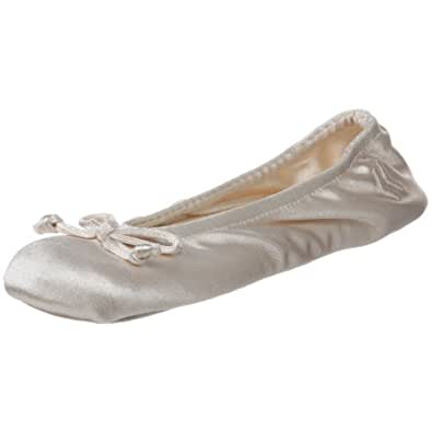 ISOTONER Women's Satin Classic Ballerina Slipper Cream Small 5-6