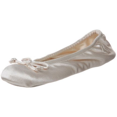 ISOTONER Women's Classic Satin Ballerina - Large Cream