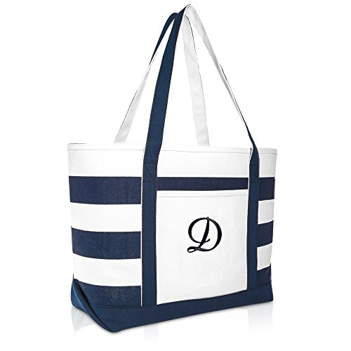 DALIX Premium Beach Bags Striped Navy Blue Zippered Tote Bag Monogrammed D