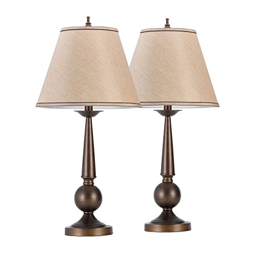 27'' Old World Carved Base Bronze Table Lamp with Beige Fabric Shade (Set of 2) by General